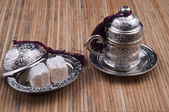 Turkish delight Box and turkish coffee cup — Stock Photo