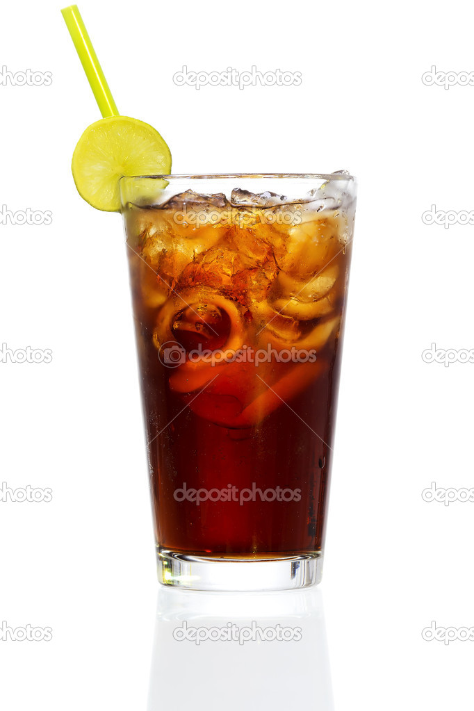 Stock image of Cuba Libre Cocktail over white background. Find more cocktail and prepared drinks images on my portfolio. — Stock Photo #8591798