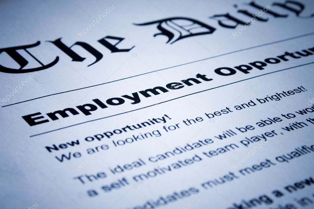 Closeup of employment classified ads on newspaper — Stock Photo #8606638