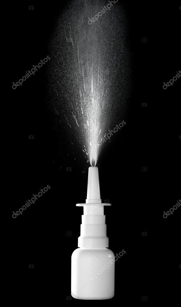 Stock image of nasal spray bottle while spraying over black background — Stock Photo #8606839