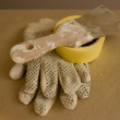 Stock Photo: Gloves and putty knife