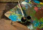 Palette and oil — Stok fotoğraf