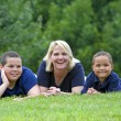 Stock Photo: Two boys with mother