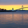 Claiborne pell bridge at sunset — Stock Photo #8408904