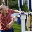 Painting fence — Stock Photo