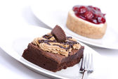 Chocolate fudge brownie and cheesecake — Stock Photo