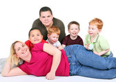 Woman with five children — Stock Photo