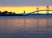 Claiborne pell bridge at sunset — Stock Photo