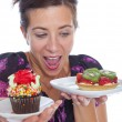 Stock Photo: Womwith dessert