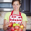 Happy woman with apples — Stock Photo