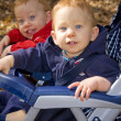 Twins in stroller — Stock Photo