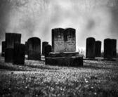 Cemitério enevoado — Foto Stock