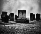 Misty graveyard — Stockfoto