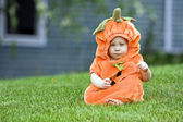 Pumpkin boy — Stock Photo