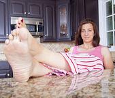 Lady in pajamas — Stock Photo