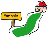 Home with for sale sign — Stock Photo