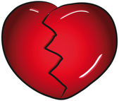 Broken red valentines day heart vector clip art — Stock Vector