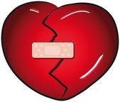 Broken heart with a band aid vector clip art — Stock Vector