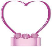 Rosa valentines hjärta ram — Stockvektor