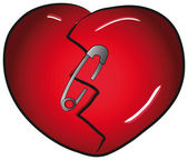 Broken heart with safety-pin — Stockvector