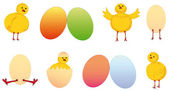 Set of easter chicken and egg — Stock Vector