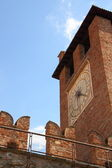Tower of clock of old Castle in Verona, Italy — Stock Photo