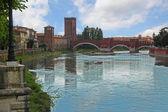 Verona along the river Adige, Italy — Stock Photo