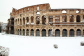 The Coliseum covered by snow — Stock Photo