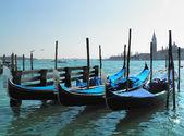 Gondolas parked at their morrings — Stock Photo