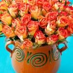 Roses in a ceramic vase — Stock Photo