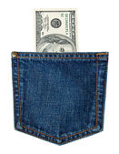 Bills in a jeans pocket — Stock Photo