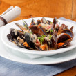 Bowl with cooked mussels — Stock Photo #10416068