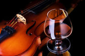 Cognac and violin — Stock Photo