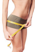Young woman measuring her wais — Stock Photo