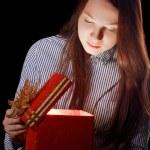 Beautifull girl opening gift box — Stock Photo #8546173