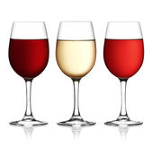 Glass of red, pink and white wine — Stock Photo