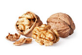 Walnut and a cracked walnut — Stock Photo