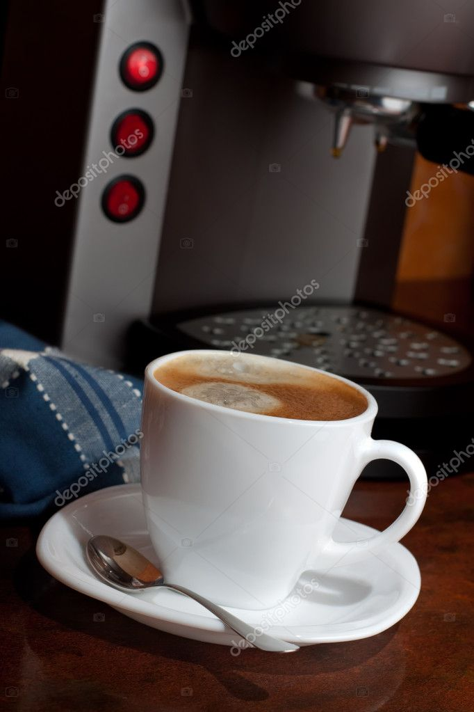 Hot espresso  coffee in a White Cup — Stock Photo #8546666