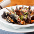 Bowl with cooked mussels — Stock Photo #8763886