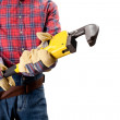 Plumber holding pipe wrench — Stock Photo #8765781