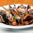 Bowl with cooked mussels — Stock Photo #8956840