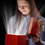 Beautifull girl opening gift box — Stock Photo #8957192