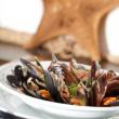Bowl with cooked mussels — Stock Photo #9570137