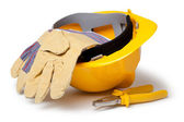 Hard Hat, Leather Gloves and pliers — Stock Photo