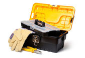 Leather Gloves and toolbox isolated on white — Stock Photo