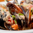 Bowl with cooked mussels — Stock Photo #9800105