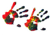 Hand prints with acrylic paint — Stock Photo