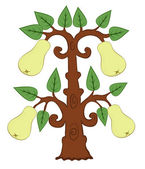 Drawn pears with leaves on the tree — Stock Vector