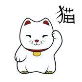 Maneki neko with hieroglyph cat — Stock Vector