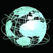 Arte do globo azul sobre o fundo preto — Fotografia Stock